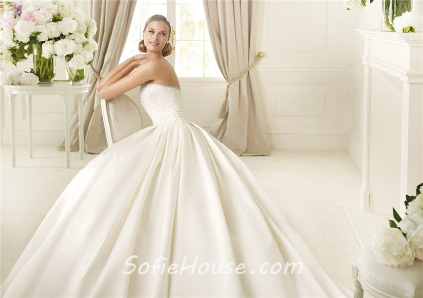 Simple A Line Strapless Ivory Satin Beaded Pearl Wedding