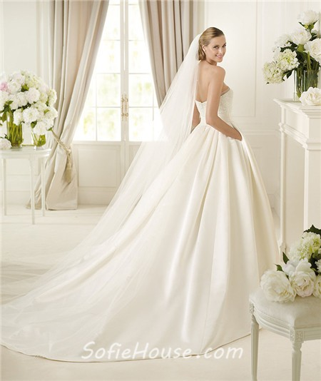 Wedding Dress With Pockets: Simple A Line Strapless Ivory Satin Beaded Pearl Wedding