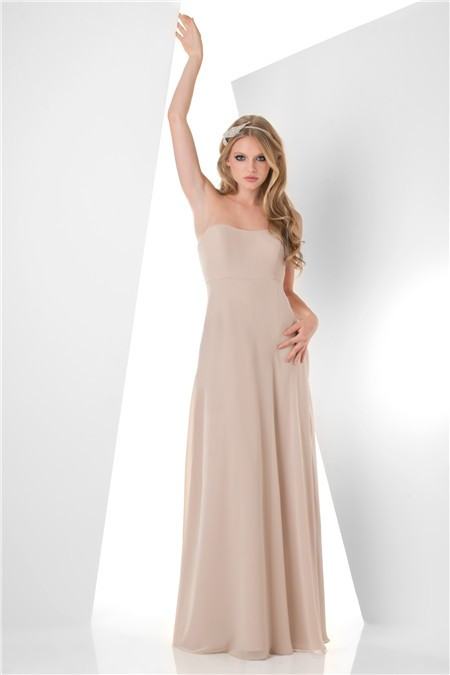 simple a line strapless long champagne chiffon wedding