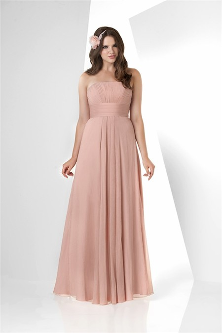 Simple a line strapless long peach chiffon draped wedding for Peach dresses for wedding