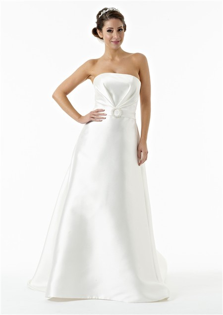 Simple a line strapless ruched satin wedding dress with for Satin belt for wedding dress