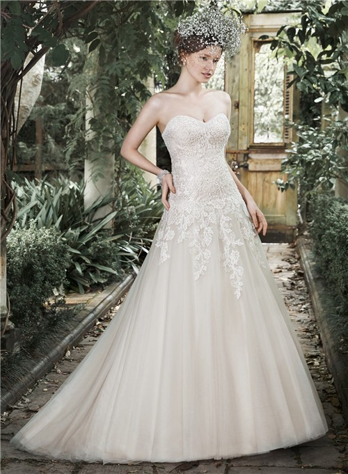 simple a line strapless sweetheart ivory tulle lace