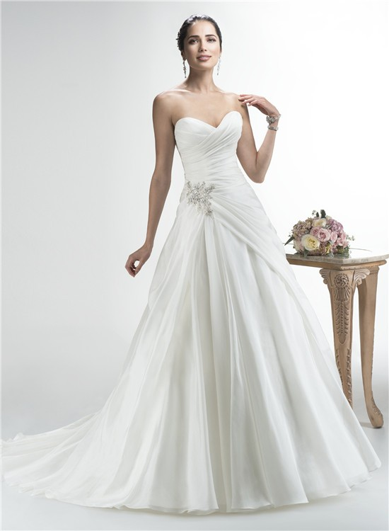 simple a line strapless sweetheart organza draped wedding
