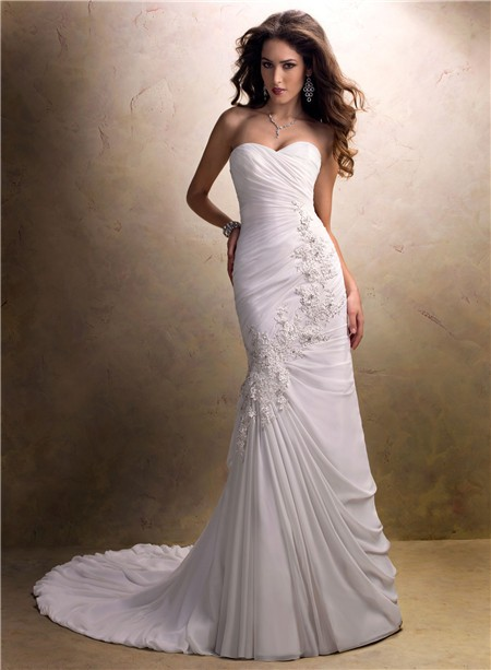 A Line Sweetheart Asymmetrical Ruched Chiffon Wedding Dress With Lace