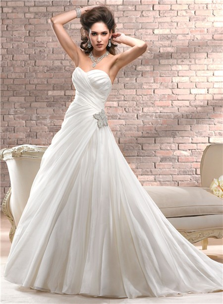 A Line Sweetheart Corset Back Ivory Organza Wedding Dress With Crystal