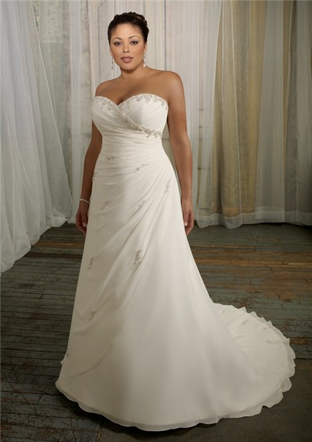 Simple a line sweetheart corset back organza beaded plus for Plus size beaded wedding dresses