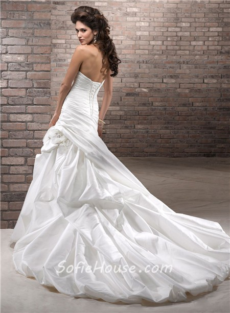 Simple a line sweetheart corset back taffeta wedding dress for Sweetheart corset wedding dress