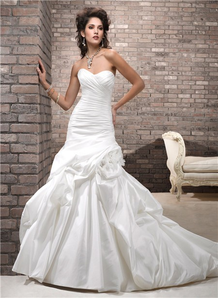 Simple a line sweetheart corset back taffeta wedding dress for Simple corset wedding dresses