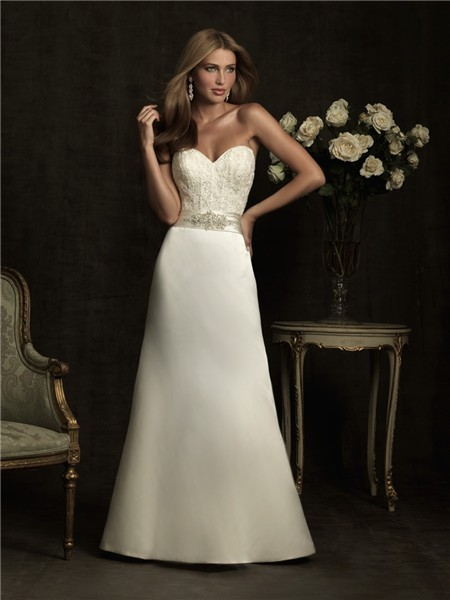 Simple a line sweetheart lace satin wedding dress with for Satin belt for wedding dress