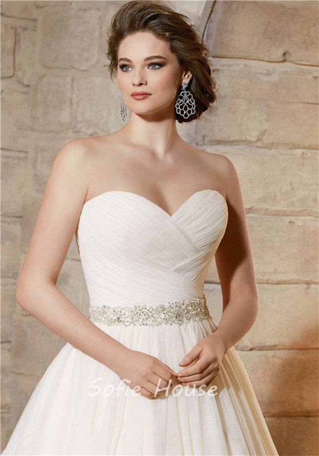 012f6bb8db77 Simple A Line Sweetheart Tulle Ruched Plus Size Wedding Dress Crystals Belt.  Sale