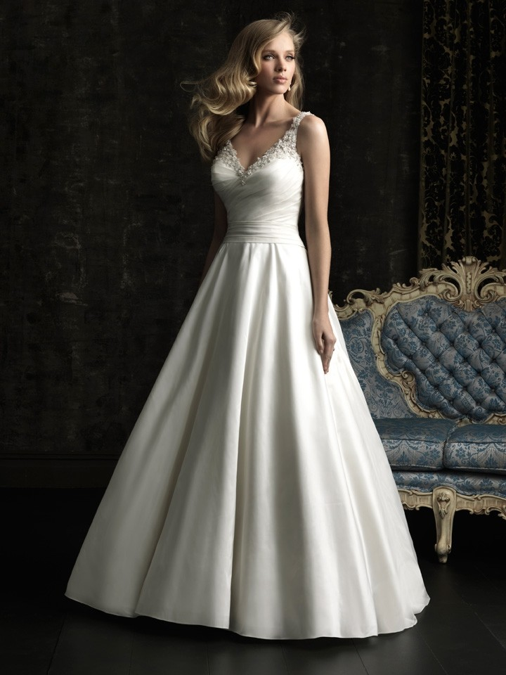 Simple a line v neck taffeta beaded wedding dress with for Plain wedding dresses with straps