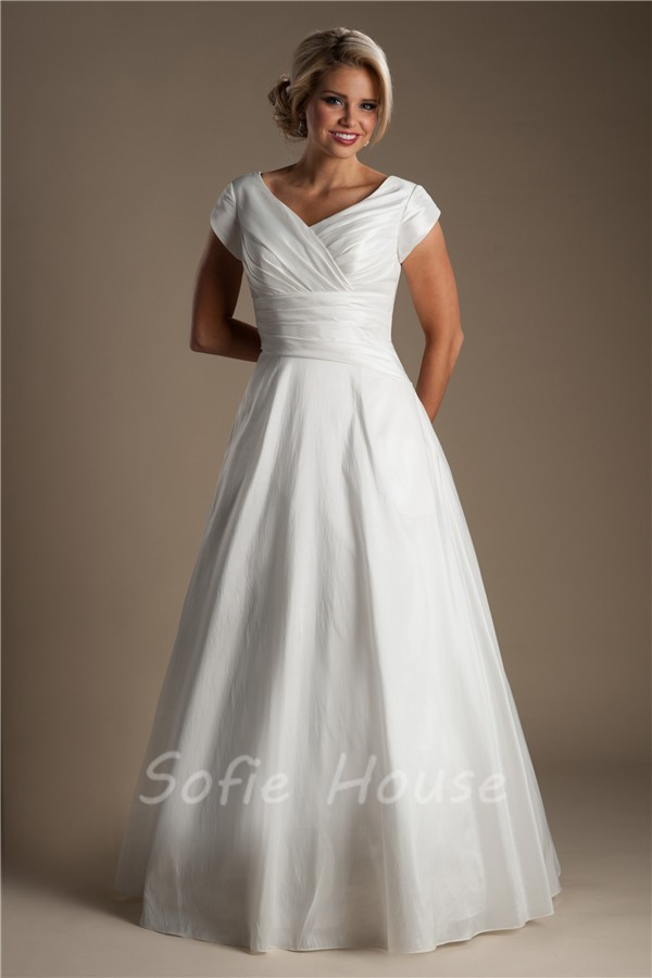 Simple a line v neck taffeta ruched modest wedding dress for Modest wedding dresses for sale