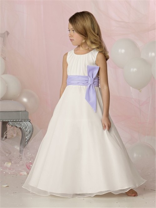 simple aline princess scoop floor length white organza