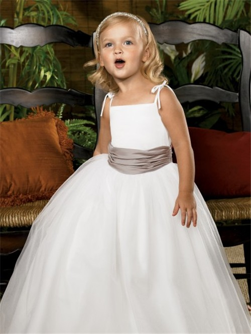b2fb0ca831b Simple A-line Princess Spaghetti Strap Floor Length White Tulle Flower Girl  Dress With sash