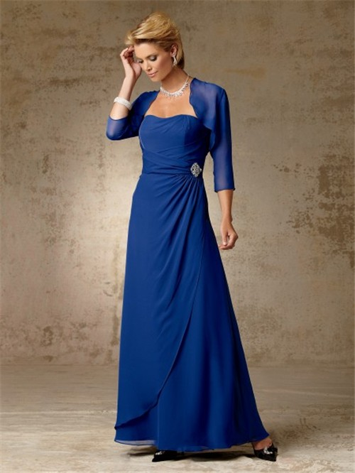 Simple a line long royal blue chiffon mother of the bride for Mama s fish house dress code