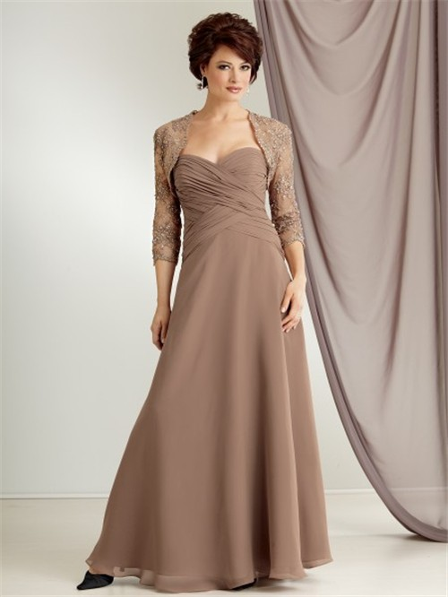 A line sweetheart long brown chiffon mother of the bride dress