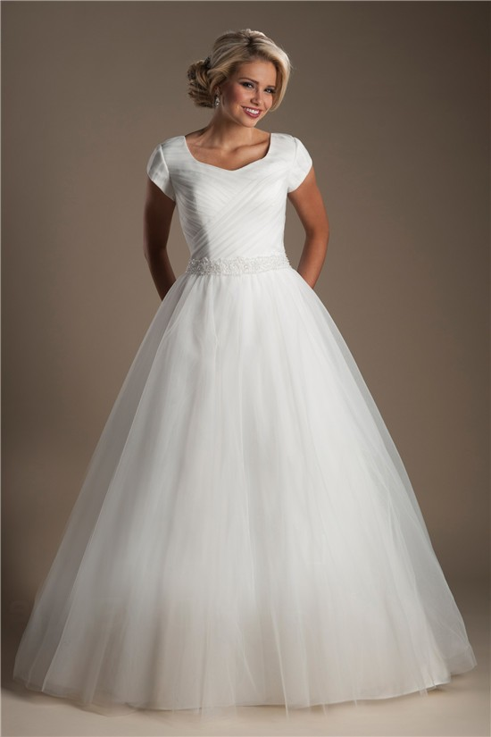 Simple Ball Gown Cap Sleeve Tulle Ruched Modest Wedding