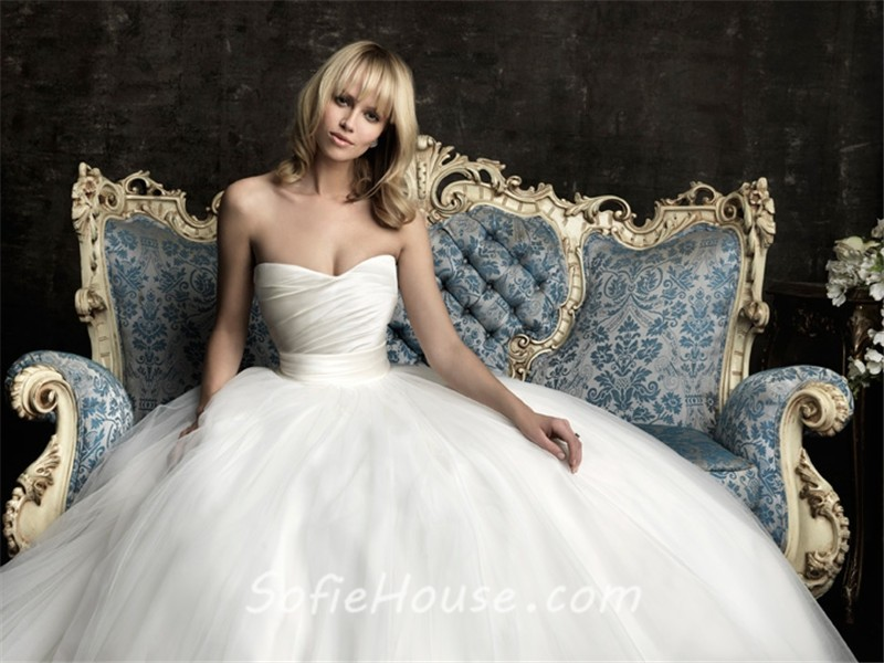 Simple Ball Gown Princess Strapless Plain Satin Tulle Wedding ...