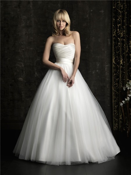 Simple ball gown princess strapless plain satin tulle for Satin belt for wedding dress