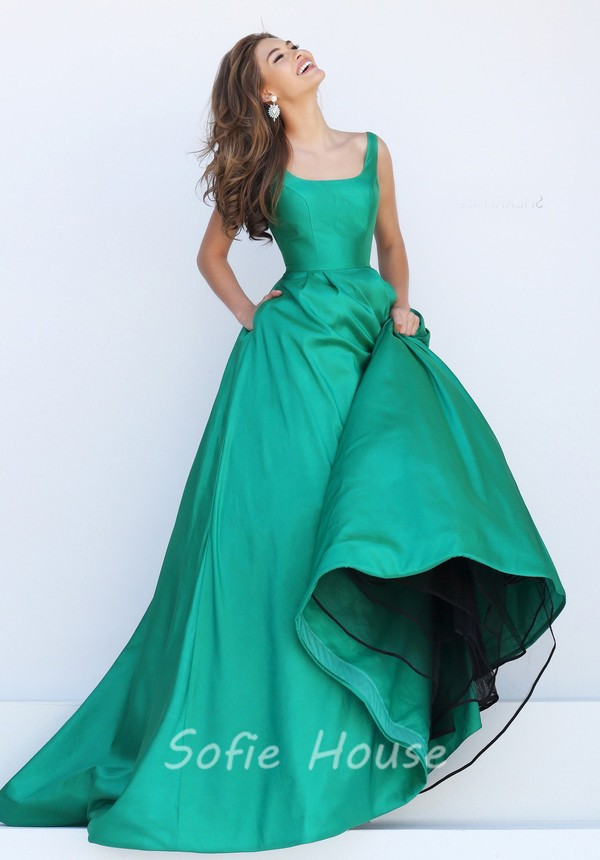 Simple Ball Gown Square Neck V Back Red Satin Prom Dress