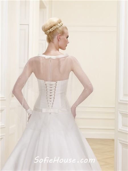 Simple ball gown strapless drop waist satin tulle corset for Simple corset wedding dresses