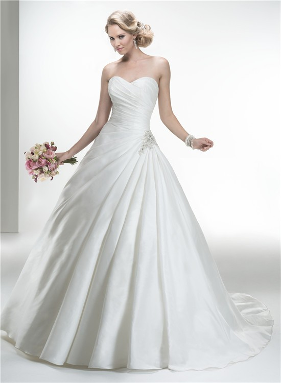 Simple ball gown strapless taffeta ruched wedding dress for Simple strapless wedding dress