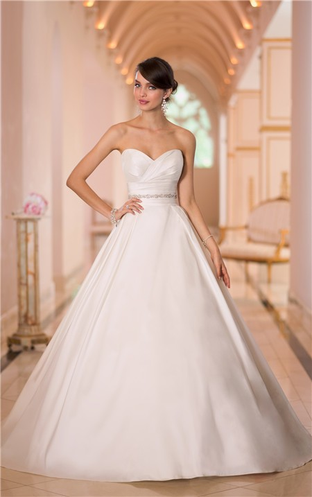 Simple Ball Gown Sweetheart Satin Ruched Wedding Dress With Crystals ...