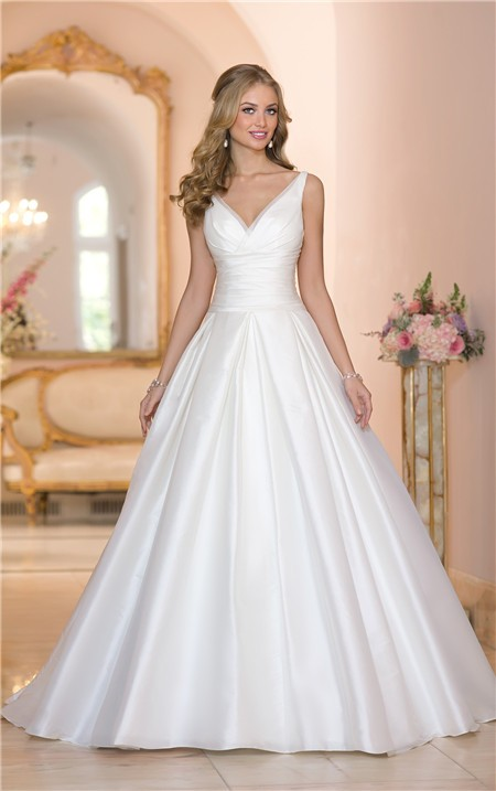Simple Ball Gown V Neck Low Back Ruched Taffeta Wedding Dress With ...