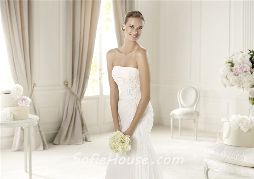Simple causual sheath strapless corset back ruched chiffon for Simple corset wedding dresses