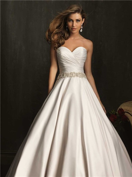 Simple exquisite ball gown strapless ruched beaded satin for Simple strapless wedding dress