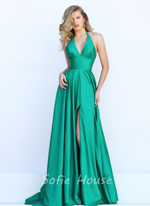 Simple Halter High Slit Long Emerald Green Satin Evening Prom Dress