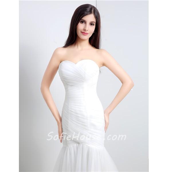 Simple mermaid strapless corset back tulle ruched wedding for Strapless corsets for under wedding dresses