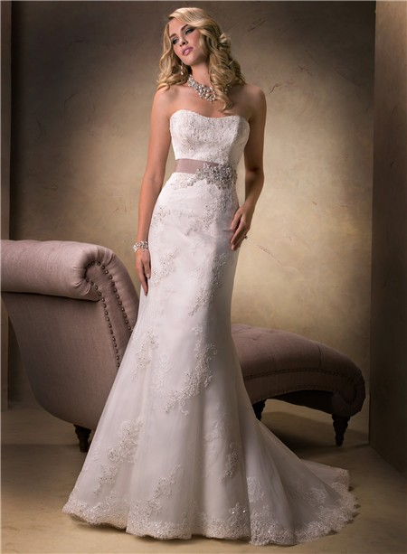Simple mermaid strapless lace beaded wedding dress with for Beaded lace mermaid wedding dress