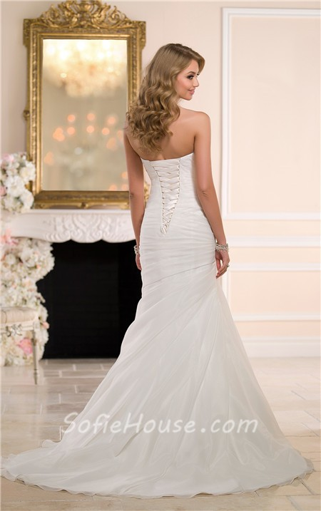 Simple Mermaid Strapless Sweetheart Organza Ruched Corset Wedding Dress Sale