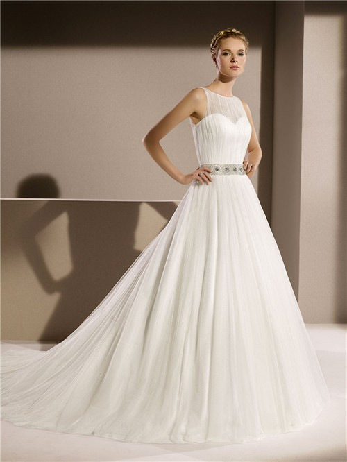 bddb03755c9a Simple Princess A Line Scoop Neck Keyhole Back Tulle Wedding Dress Beaded  Crystal Belt
