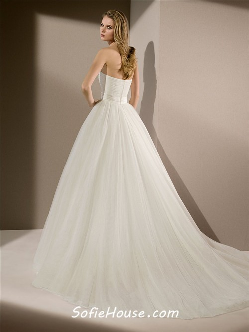 Simple Princess Ball Gown Strapless Tulle Beaded Wedding Dress ...