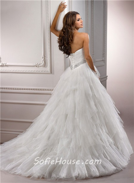 Simple Princess Ball Gown Sweetheart Layered Tulle Wedding Dress With Crystal Flower