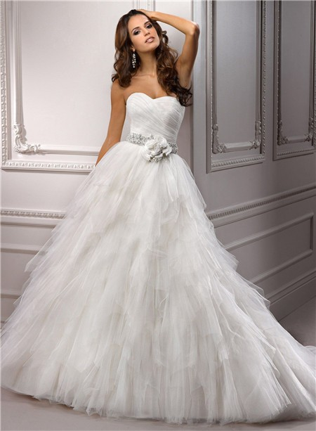 Princess Ball Gown Sweetheart Layered Tulle Wedding Dress With ...