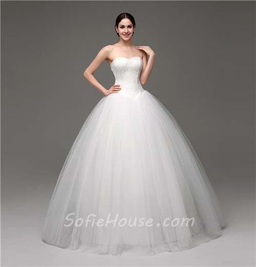 005d7a5476 Simple Puffy Ball Gown Strapless Tulle Lace Corset Wedding Dress