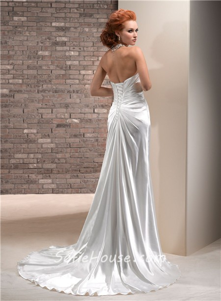 simple sheath scoop neckline corset back silk satin
