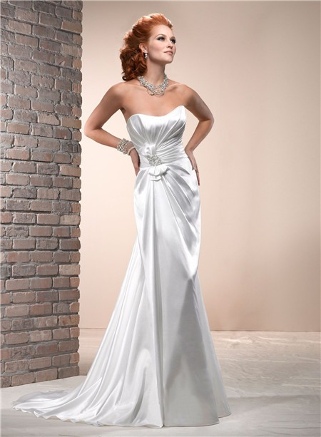 Simple sheath scoop neckline corset back silk satin for Satin silk wedding dresses