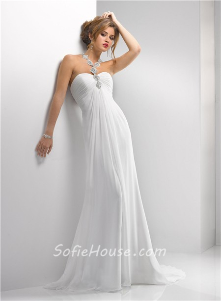 Simple sheath sweetheart destination beach chiffon summer for Simple wedding dresses for small wedding