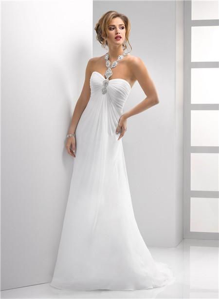 Simple Sheath Sweetheart Destination Beach Chiffon Summer Wedding Dress With Crystals Straps