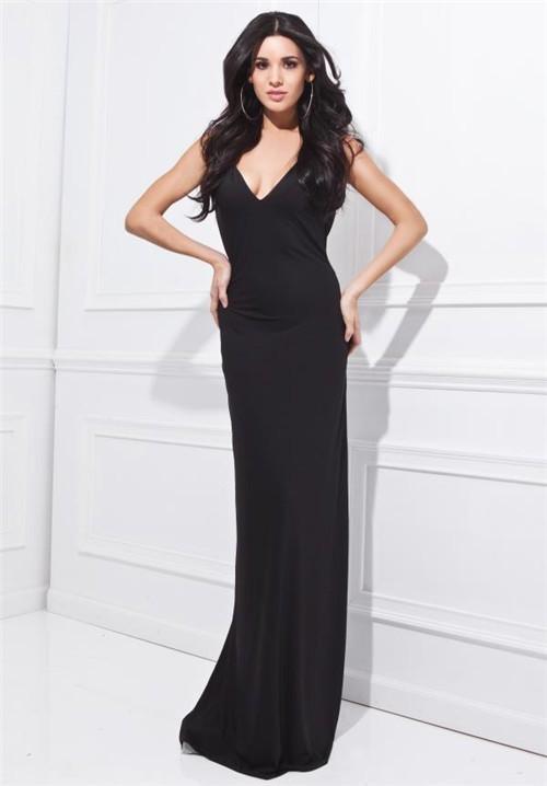 Simple Sheath V Neck Open Back Long Black Jersey Formal Occasion Evening Dress