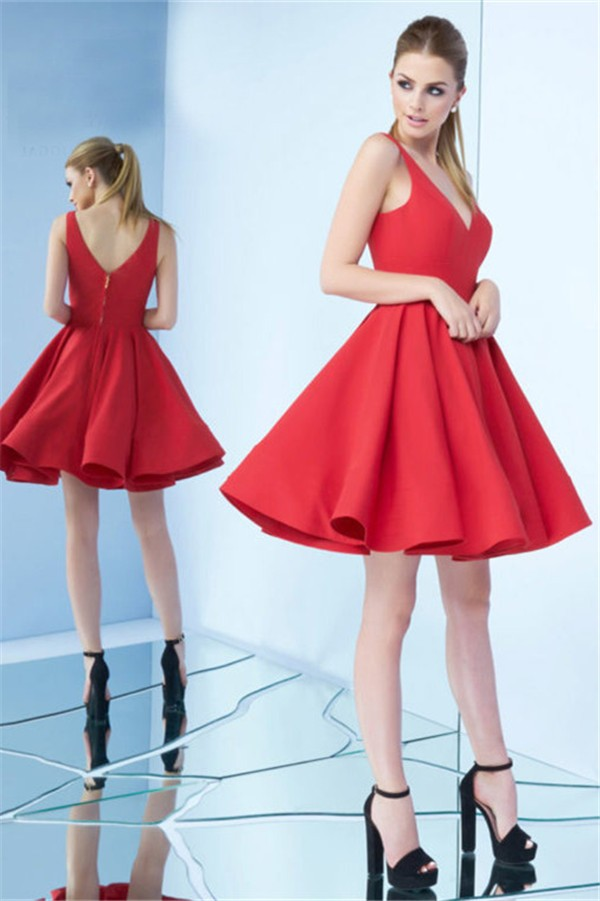 3b832b2b17a8 Simple V Neck Short Red Satin Party Prom Dress
