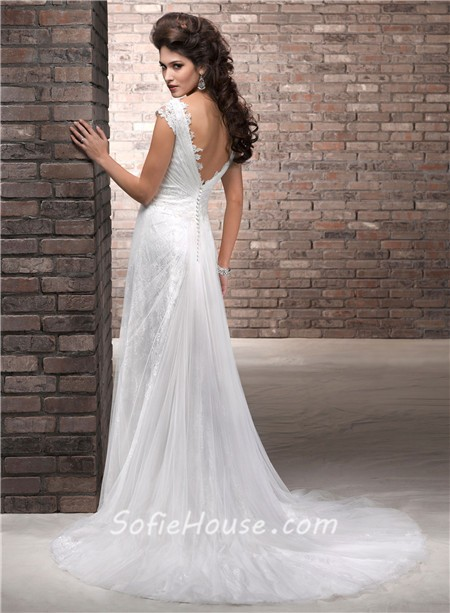Deep Low Back Wedding Dress : Slim a line deep v neck cap sleeve lace tulle wedding