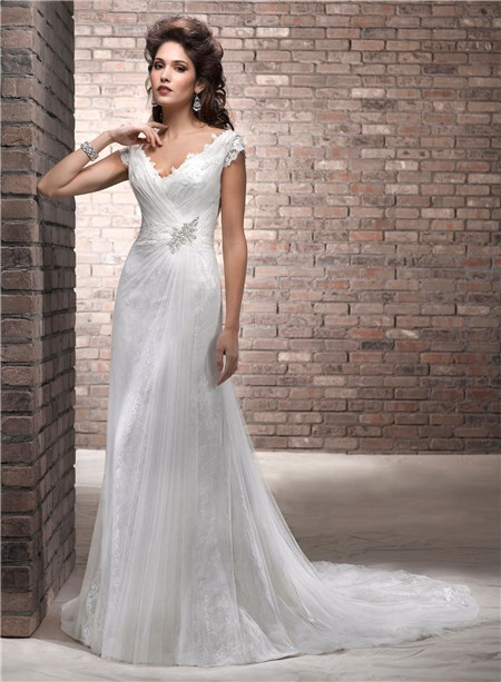 Slim A Line Deep V Neck Cap Sleeve Lace Tulle Wedding Dress With Low ...
