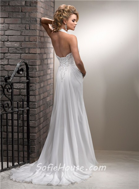Slim A Line Halter Corset Back Chiffon Beach Wedding Dress With Lace ...
