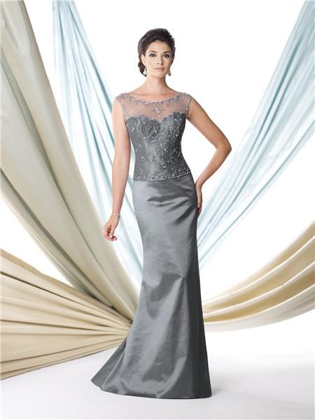 Slim a line illusion neckline cap sleeve grey taffeta for Mama s fish house dress code