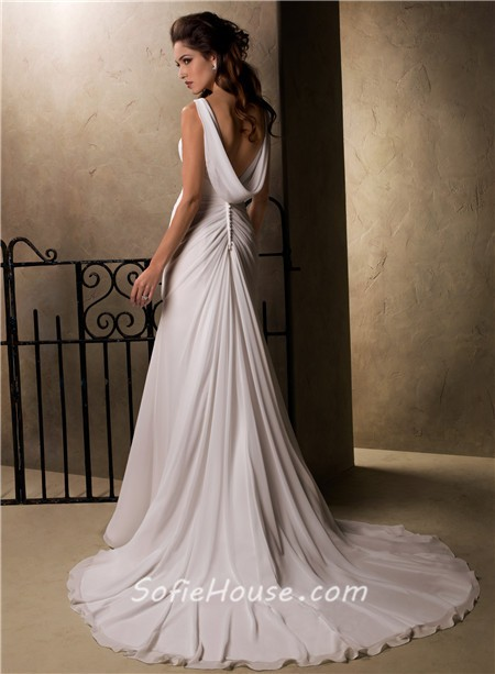 Slim A Line Sheath Empire Waist Chiffon Crystal Wedding Dress With ...